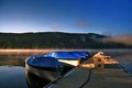 Boats in the morning on titisee in the black forest Royalty Free Stock Photo