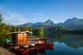 Boats on mountain lake in High Tatra