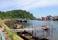 Boats on the Batang Arau River in Padang, West Sumatra Royalty Free Stock Photo