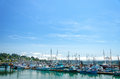 Boats in newport yaquina bay oregon Stock Images