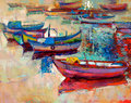 Boats and ocean original oil painting of jetty pier on canvas sunset over modern impressionism Stock Photos