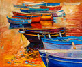 Boats and ocean original oil painting of jetty pier lighthouse on canvas sunset over modern impressionism Stock Image