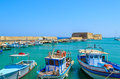 Boats in the old port of Heraklion, Crete island Royalty Free Stock Photo
