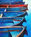Boats original oil painting of and jetty pier on canvas sunset over ocean modern impressionism Royalty Free Stock Images