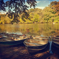 Boats over lake in Central Park, New York, NY Royalty Free Stock Photo