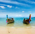 Boats on paradise beach, Thailand Stock Photography