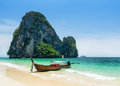 Boats on phra nang beach thailand Stock Photography