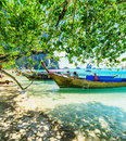 Boats on phra nang beach thailand Stock Images