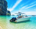 Boats on phra nang beach thailand Royalty Free Stock Image