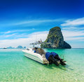 Boats on phra nang beach thailand Stock Photo