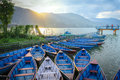 Boats at the pier, Lake Phewa, Pokhara, Nepal Royalty Free Stock Photo