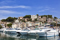 Boats in the port of soller sea majorca spain Stock Photo