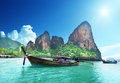 Boats on railay beach in krabi thailand Royalty Free Stock Image