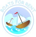 Boats for rent colored label Stock Image
