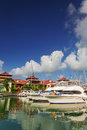 Boats and residential area at eden island seychelles mahe Royalty Free Stock Photo