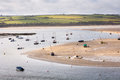 Boats on river camel moored the at rock in cornwall uk Royalty Free Stock Photo
