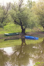 Boats in the river floods serbia village of ivanovo near pancevo serbia Stock Images