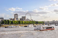 Boats on River Thames in London Royalty Free Stock Photo