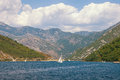 Boats sail in the Kotor Bay of Adriatic Sea. Montenegro Royalty Free Stock Photo