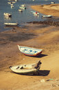 Boats in the shore ferragudo town algarve portugal summer Royalty Free Stock Photography