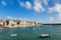 Boats in St Ives harbour Cornwall England on a calm summer day Stock Photography