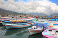 Boats stand at the pier in alanya various and yachts turkey Stock Images