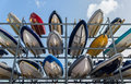 Boats in storage rack rows of sailboats a a marina portsmouth hampshire england Royalty Free Stock Photo