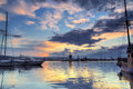 Boats and sunset scenic view of yachts boat at dramatic with cloudscape background Royalty Free Stock Photography