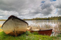 Boats at swedish lake Stock Photography