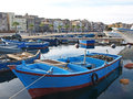 Boats in taranto moored harbour at town puglia Stock Photos