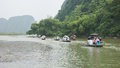 Boats with Tourists in Ninh Binh Royalty Free Stock Photography