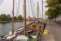 Boats on trave in lübeck Stock Photography