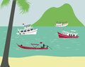 Boats on tropical beach in thailand vector Stock Photos