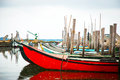 Boats in water canal old of rio aveiro portugal Stock Image