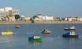 Boats in weston super mare bay and sea front view in this popular west country tourist destination in somerset england Stock Image