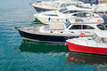 Boats and yachts in the port on quay at Royalty Free Stock Photo