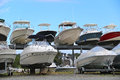 Boats, yachts stand in two rows Royalty Free Stock Photo