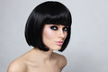 Bob haircut young beautiful sexy woman with stylish and smoky eyes Royalty Free Stock Photos