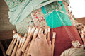 Bobbin lace detail of hands making Stock Photos