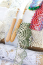 Bobbin lace handmade work Royalty Free Stock Photography