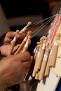Bobbin lace-making Stock Image