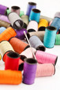 Bobbins of lurex thread Stock Images