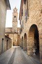 Bobbio emilia romagna village street bell tower italy Royalty Free Stock Photo