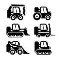 Bobcat Machine Icons Set. Vector Royalty Free Stock Photo