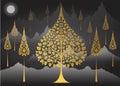 Bodhi Tree thai tradition on Mountain background