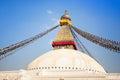 Bodhnath stupa with buddha eyes and prayer flags clear blue sky kathmandu nepal stock photo Stock Photo