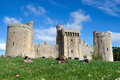 Bodiam castle sussex england gardens surrounding east uk Royalty Free Stock Photo