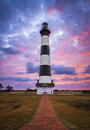 Bodie island lighthouse cape hatteras national seashore outer banks nc blue and pink sunrise in nags head north carolina Stock Image
