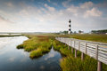 Bodie island lighthouse north carolina outer banks the newly restored and marsh in s Royalty Free Stock Photo