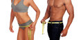 Bodies of man and woman measuring the waist with tape measure Royalty Free Stock Photo